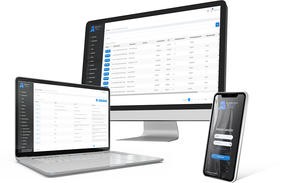 CRM for lawyers - software screenshot in the portfolio - devices adaptive